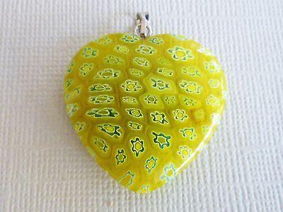 MILLEFIORI HERZ ANHÄNGER Glas Perle Blume Blümchen grün 3 cm 136