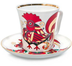 Red-Rooster-Mug-amp-Saucer-Lomonosov-Russian-Imperial-Porcelain-Teacup-12-fl-oz