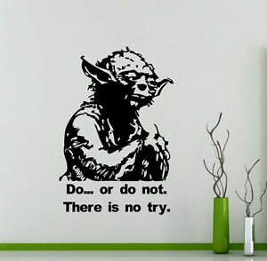 Image is loading Star-Wars-Wall-Decal-Do-Or-Do-Not-  sc 1 st  eBay & Star Wars Wall Decal Do Or Do Not Jedi Yoda Quote Vinyl Sticker ...