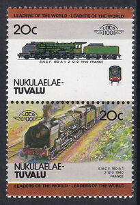 TUVALU-NUKULAELAE-LOCO-100-SNCF-160-A1-CLASS-LOCOMOTIVE-FRANCE-STAMPS-MNH