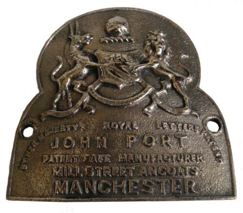RARE LARGE ANTIQUE HEAVY CAST JOHN PORT MANCHESTER SAFE PLATE 5131 BRASS