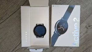 Samsung Galaxy Watch Active 2 44mm Stainless Steel Case with Leather Strap Smar…