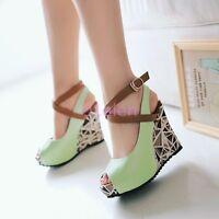 Hot Ladies Cross Strap Floral Wedge Heel Peep Toe Wedding Sandals Platform Shoes