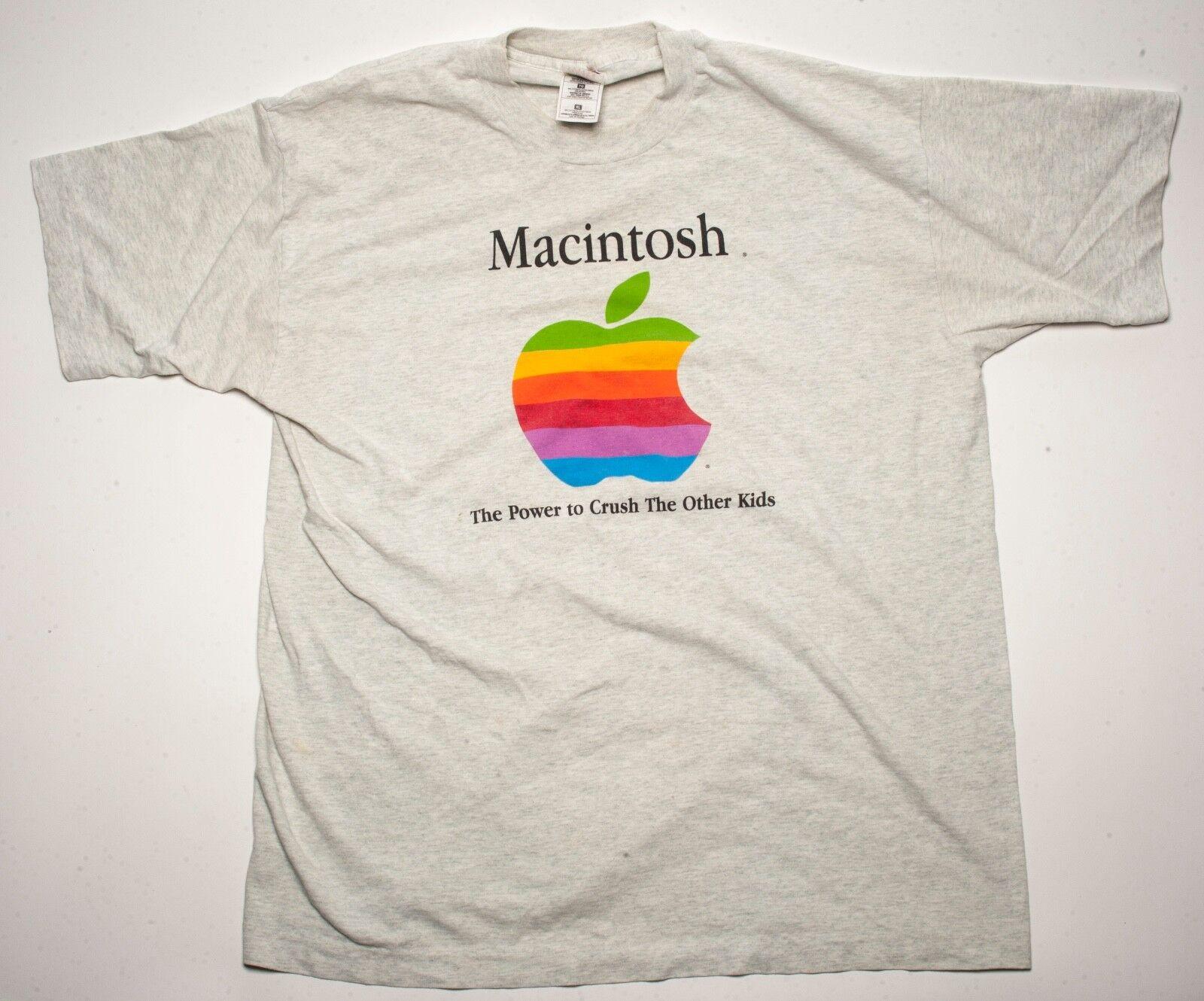 Original 1996 Macintosh Apple Logo T-Shirt The Power to Crush the Other Kids XL