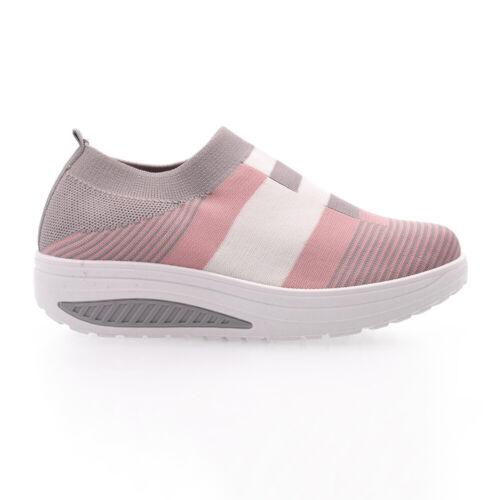 Women/'s Casual Comfy Mid Heel Platform Shoes Ladies Slip On Striped Sneakers US