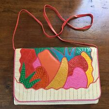 Vintage 80s SHARIF tropical punch novelty Reptile Leather Crossbody Handbag
