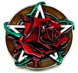 Red-Rose-amp-Pentagram-Belt-Buckle-Flower-Gothic-Women-s-Authentic-Dragon-Designs