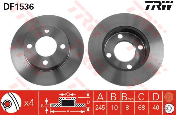 1 Stück TRW DF1536 Bremsscheibe