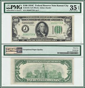 1934C-Kansas-City-100-Federal-Reserve-Note-PMG-35-EPQ-Choice-Very-Fine-FRN