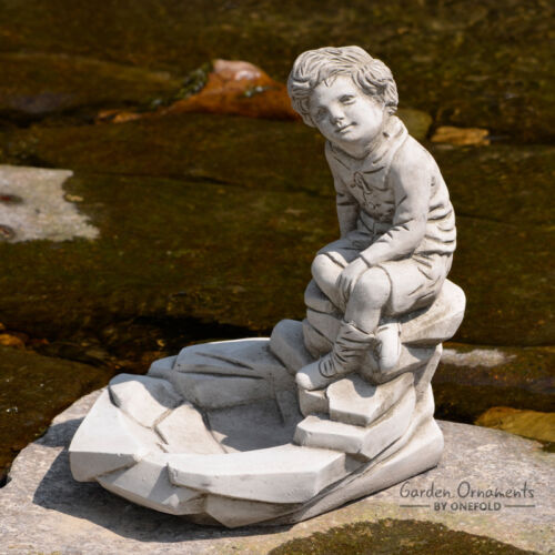 PEBBLE BOY Garden Statue Ornament Cast Stone Home Decor Bird Bath ⧫onefold-uk