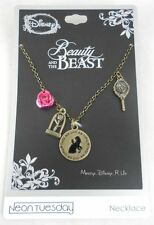New Disney Beauty And The Beast Belle Rose Dome Charm Necklace Tale Old As Time