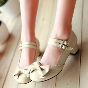 Womens-Mary-Jane-Bowknot-Ankle-Strap-Kitten-Heel-Lolita-New-Pumps-Shoes-Plus-Sz