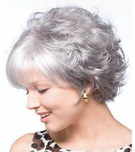 Hellojf1336 Fashion Short Gray White Mixed Curly Natural Hair Wig Wigs For Women Ebay