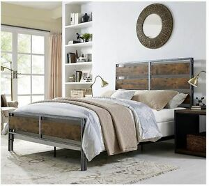 Image Is Loading Bed Frame Queen With Headboard Rustic Vintage Reclaimed