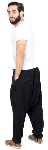 Men Hammer Pants Yoga Parachute Moroccan Linen Drawstring Casual  LG-XXL Black