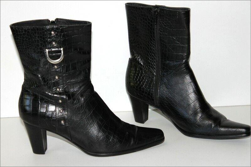 Stiefletten spitz Leder geprägte schwarz gefüttert Leder T 39 seht guter Zustand