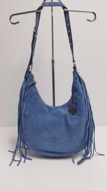 fb36d5296432 ... sale michael kors 35t6sral7s suede large rhea crossbody fringe purse  demin blue 46f7f a28c9