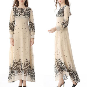 Womens Ladies Vintage Long Sleeve Floral Printed Maxi Dress Party Prom Dresses 8