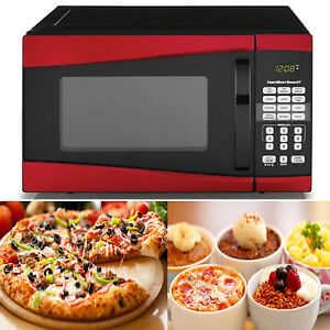 Countertop-Microwave-Oven-Red-Kitchen-Cooking-Pizza-Defrost-Heating ...