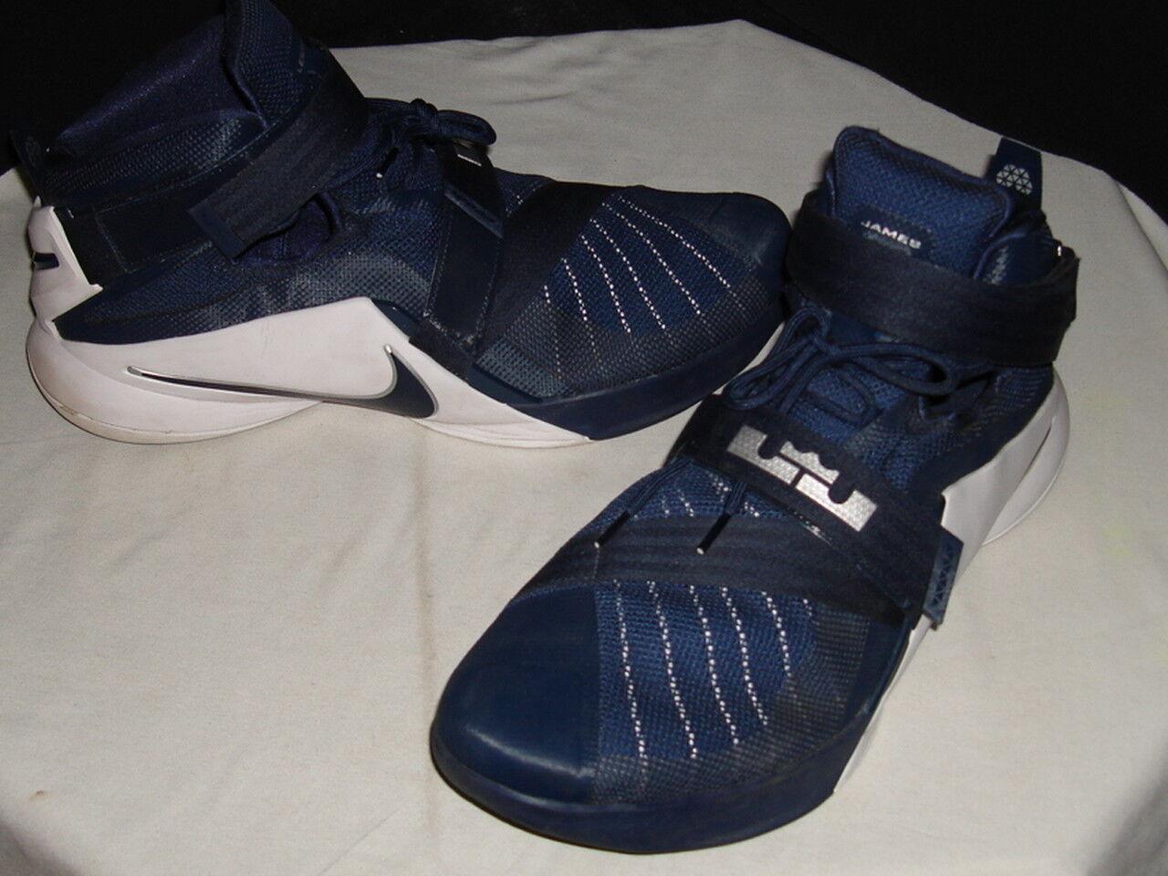 Nike Zoom Air LeBron / 3 soldado 9 Azul / LeBron Blanco Basketball Zapatos SZ 18 a41158
