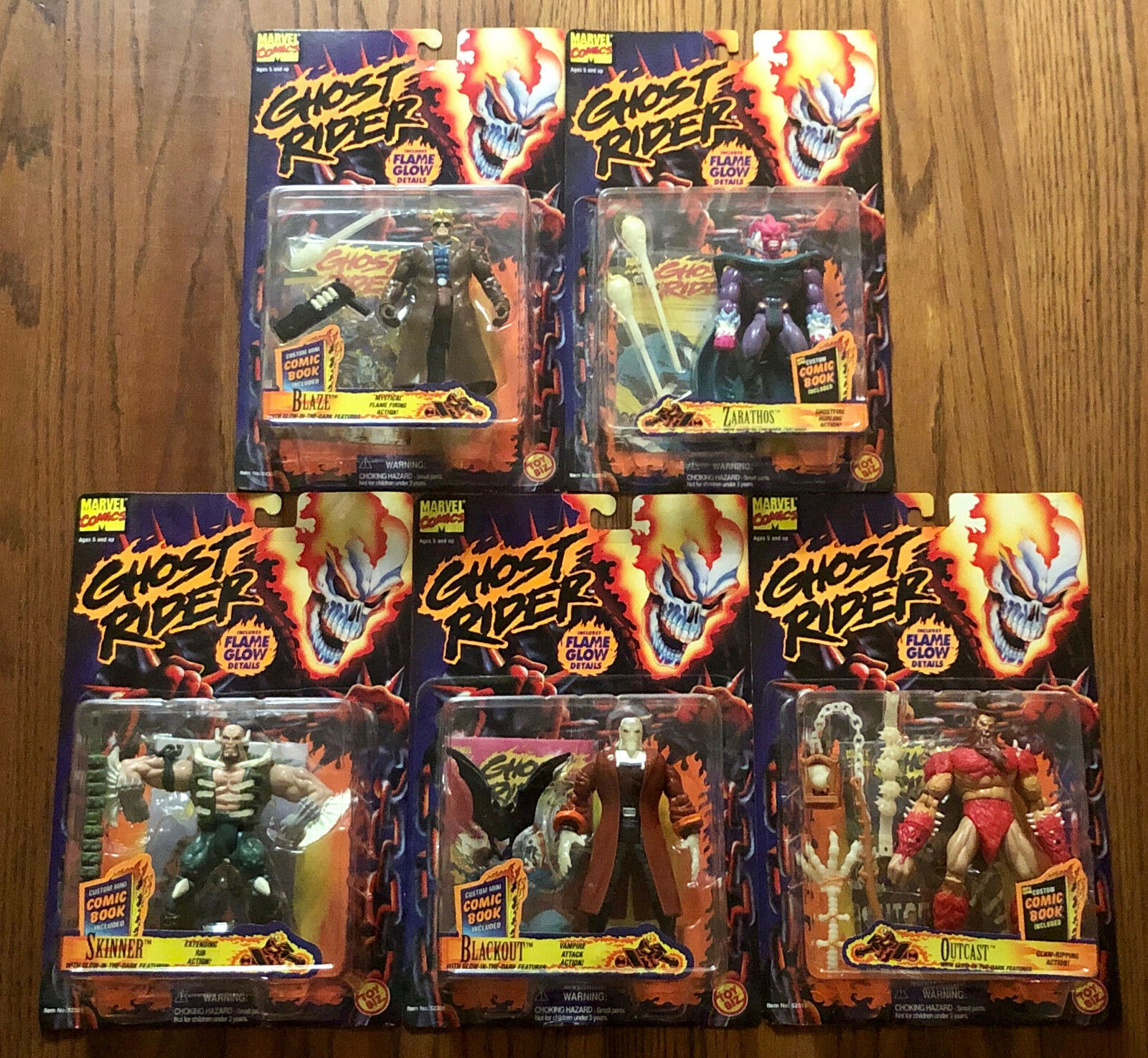 LOT OF 5 1995 GHOST RIDER TOY BIZ FLAME GLOW ACTION FIGURES SEALED NEW Marvel