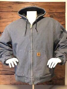 Carhartt-Men-s-Jacket-Size-2-XL-Reg-Heavy-Duty-Steel-Blue-Awesome-Color