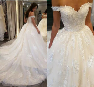 Elegant Off Shoulder Wedding Dresses Lace Appliques Ball Bridal Gowns Plus Size Ebay