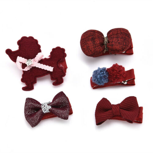 5PCS Lovely Kids Baby Girl Hair Clips Bowknot Heart Crown Headwear Hairpins Set