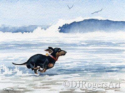 DACHSHUND AT THE BEACH 11 x 14 Dachshund Art Print Signed by Artist DJR w/COA