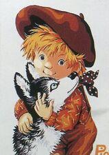 Stickpackung Stickbild Vordruck 20x15 cm sticken Pio Junge mit Hund Welpe Dog