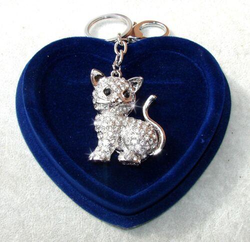 Gattino Brillante Portachiavi 3D Ciondolo Borsa Strass,Uomo Donna,San Valentino