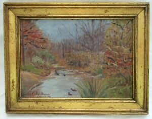 VINTAGE-FOLK-ART-OIL-PAINTING-GILT-WOOD-PICTURE-FRAME-COUNTRY-PRIMITIVE-LANDSCAP