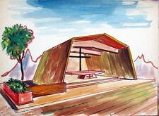 Acquerello '900 su carta Watercolor Architettura futurista cubista razionale-81