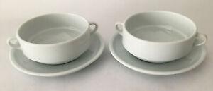 Set of 4 Pieces Sur La Table White Porcelain 2-Handled Soup Bowls and Saucers