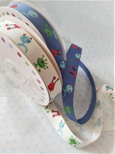 various lengths Reel Chic ALIEN grosgrain ribbon Blue or White 16mm Aliens
