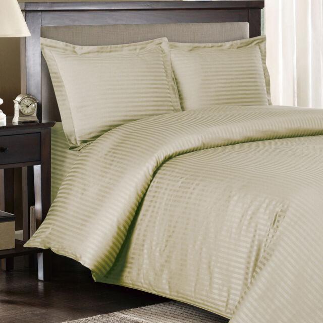 1200 Thread Count 100% Egyptian Cotton Bed Sheet Set 1200 TC QUEEN Beige  Stripe
