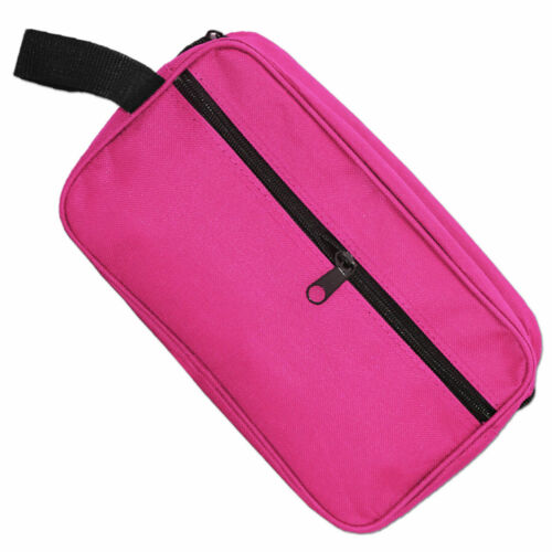 pink//black travel wash bag 2 compartments zip closure toiletry bag