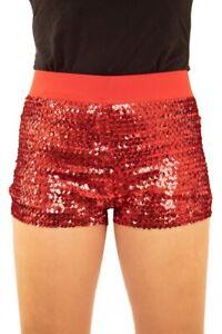 Damen Hotpants mit Pailletten und elastischem Bund Rot Panty kurze Hose Short