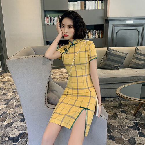 Chinese Summer Mini Dress Women Cotton Linen Cheongsam Prom Qipao Size S-2XL