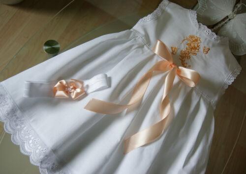 Taufkleidchen Baumwolle mit Spitzen und Bestickung ** Baby Taufkleid Festkleid