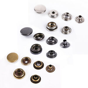 100 Pack 10/15mm Snap Fasteners Press Studs Poppers Sewing Buttons Leather Craft