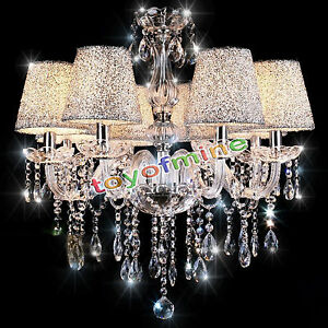 Modern Crystal Chandelier Lighting With Lamp shade 6 Lights ...