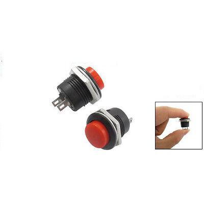 F Xmas 5 X Momentary SPST NO Red Round Cap Push Button Switch AC 6A/125V 3A/250V