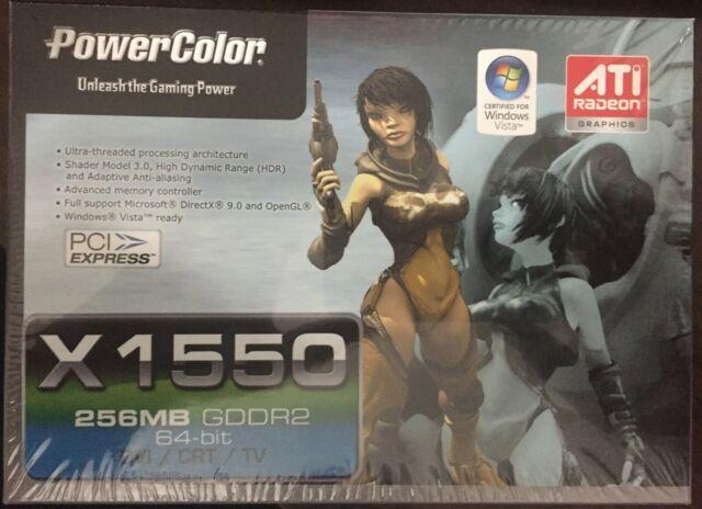 (2) Powercolor Radeon X1550 512MB GDDR2 PCI-E 64-BIT DVI/CRT/TV    NEW IN BOX