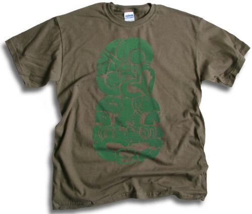Maori Tiki Greenstone New Zealand Aotearoa Mens Olive Green T Shirt Sm 2XL