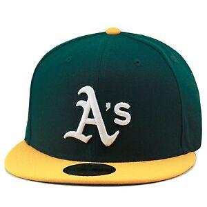 New Era Oakland Athletics A's Fitted Hat Dark Green/Yellow/G<wbr/>rey Bottom mlb