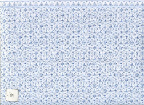 Wallpaper Dutch Tile JM08  blue on white  dollhouse  1pc Jackson/'s Miniatures