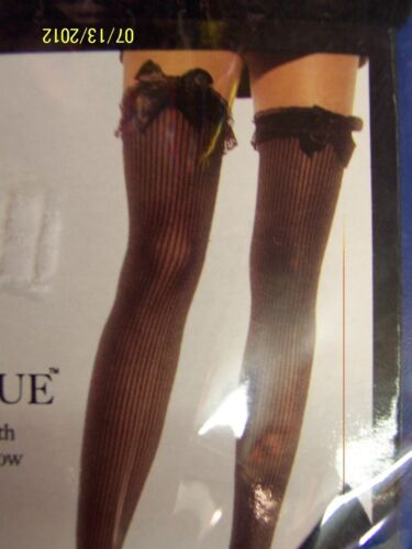 Ribbed Thigh Highs w//Lace Ruffle /& Satin Bow Dress Up Adult Costume Accessory