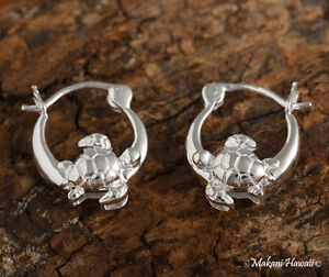 258916a927e06 Details about 925 Sterling Silver Hoop w/ Turtle Earing Hawaiian Jewelry