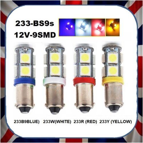 SET OF 2 BRAND NEW WHITE LED CAR LAMP LIGHT BULB 233W 233-12V 9SMD BA9s LED